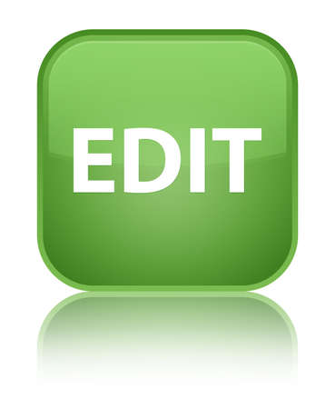 Edit isolated on special soft green square button reflected abstract illustration Stock Photo