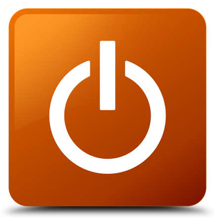 Power icon isolated on brown square button abstract illustration