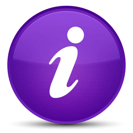 Info icon isolated on special purple round button abstract illustration Stock Photo