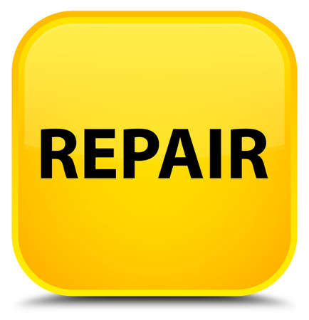 Repair isolated on special yellow square button abstract illustration Stock Photo