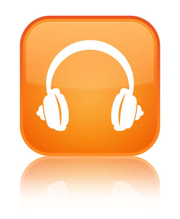 Headphone icon isolated on special orange square button reflected abstract illustration