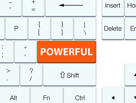 Powerful isolated on orange keyboard button abstract illustration