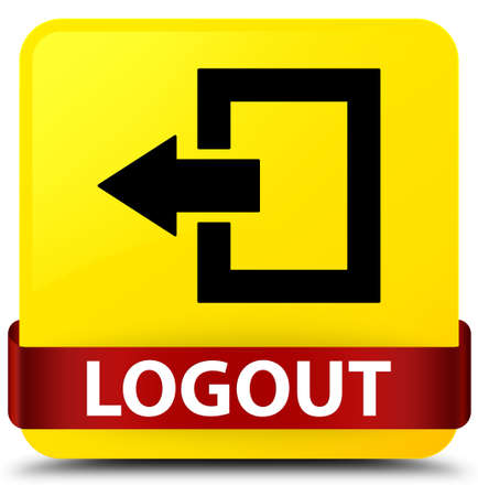 Logout isolated on yellow square button with red ribbon in middle abstract illustration