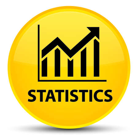 Statistics isolated on special yellow round button abstract illustration Stock Photo