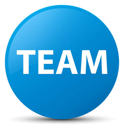 troupe: Team isolated on cyan blue round button abstract illustration