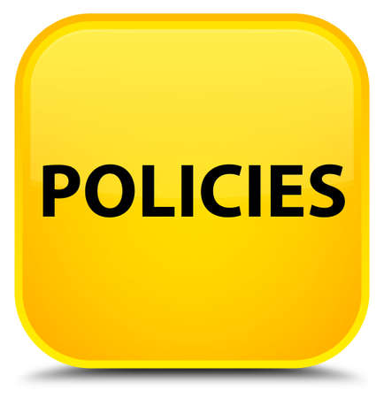 Policies isolated on special yellow square button abstract illustration