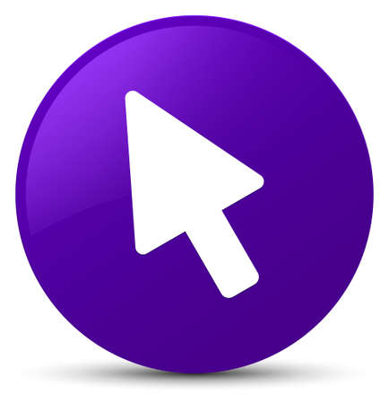 Cursor icon isolated on purple round button abstract illustration