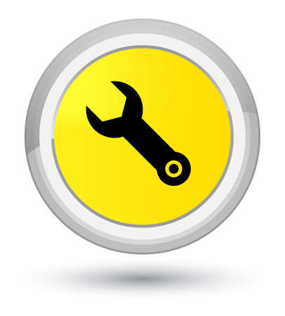 Wrench icon isolated on prime yellow round button abstract illustration