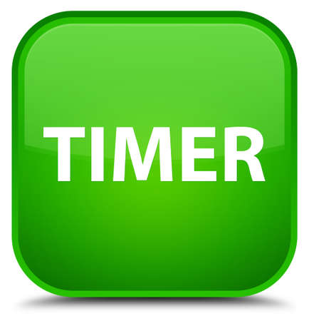 Timer isolated on special green square button abstract illustration