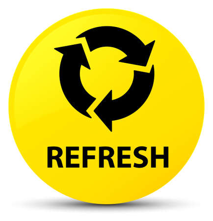 Refresh isolated on yellow round button abstract illustration Stock Photo