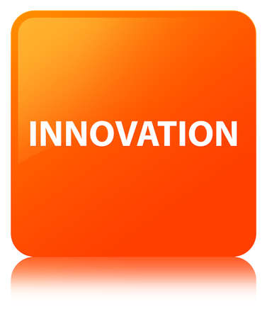 Innovation isolated on orange square button reflected abstract illustration Stock Photo