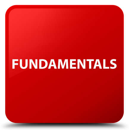 Fundamentals isolated on red square button abstract illustration