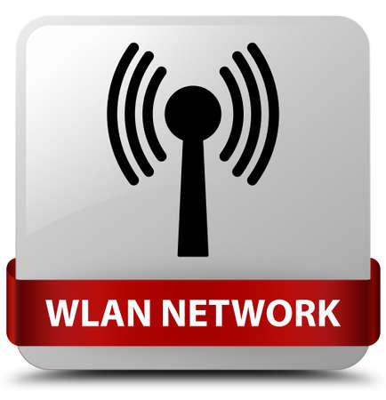 Réseau WLAN isolé sur un bouton carré blanc avec ruban rouge en illustration abstraite moyenne Banque d'images - 89913313