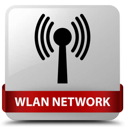 Wlan network isolated on white square button with red ribbon in middle abstract illustration