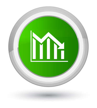 Statistics down icon isolated on prime green round button abstract illustration
