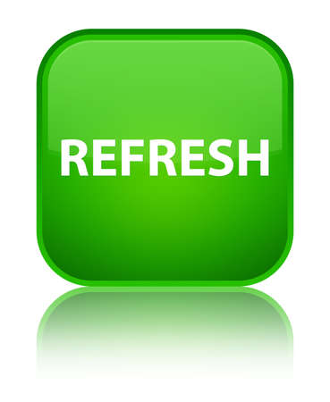Refresh isolated on special green square button reflected abstract illustration Stock Photo