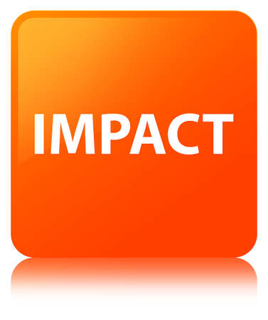 knocking: Impact isolated on orange square button reflected abstract illustration Stock Photo