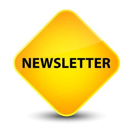 Newsletter isolated on elegant yellow diamond button abstract illustration