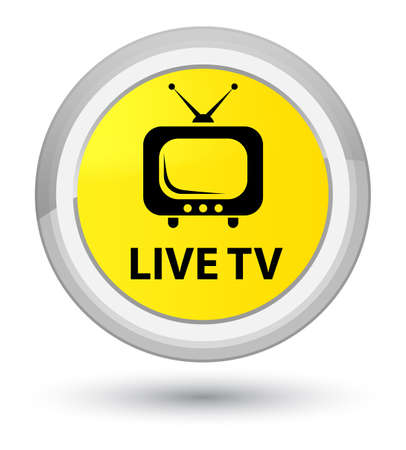 Live tv isolated on prime yellow round button abstract illustration