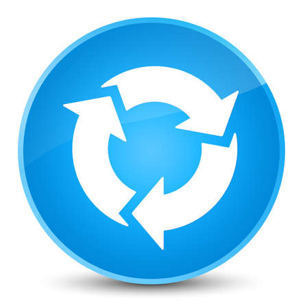 Erneuern Sie die Ikone, die auf eleganter cyan-blauer blauer runder Knopfzusammenfassungsillustration lokalisiert wird