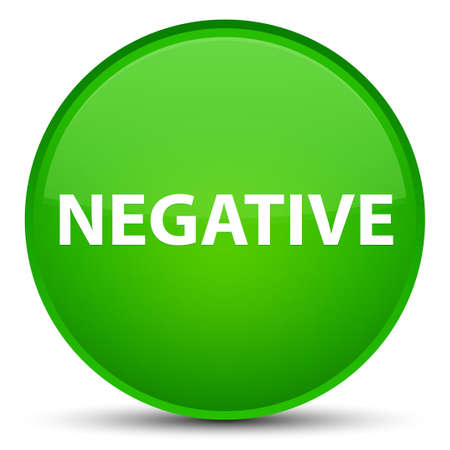 Negative isolated on special green round button abstract illustration