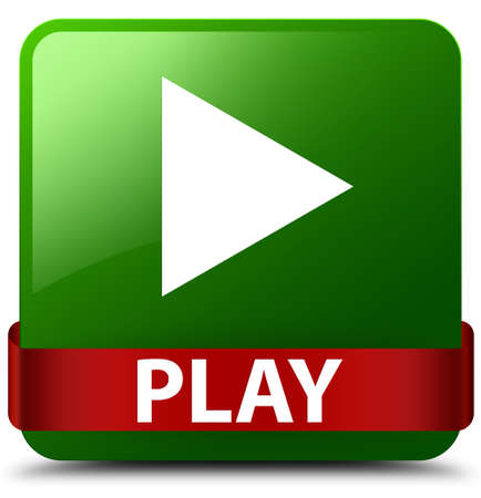 Play isolated on green square button with red ribbon in middle abstract illustration Stock Photo