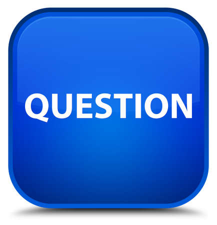 Question isolated on special blue square button abstract illustration Stock Photo