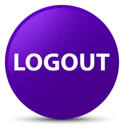 Logout isolated on purple round button abstract illustration