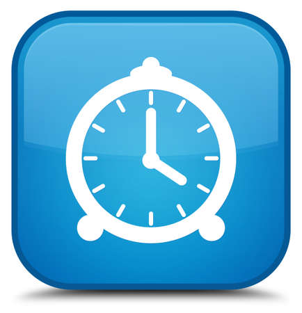Alarm clock icon isolated on special cyan blue square button abstract illustration