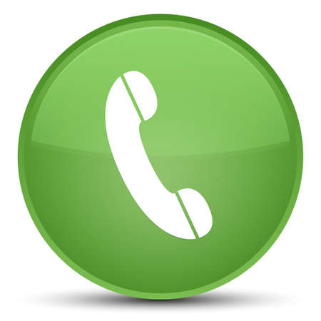 Phone icon isolated on special soft green round button abstract illustration
