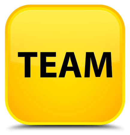 troupe: Team isolated on special yellow square button abstract illustration Stock Photo