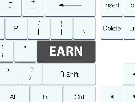Earn isolated on black keyboard button abstract illustration 版權商用圖片