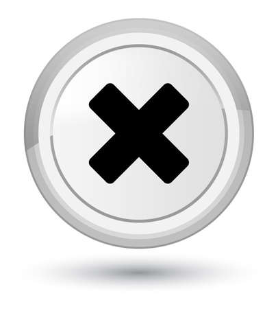 Cancel icon isolated on prime white round button abstract illustration