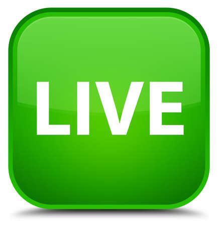 Live isolated on special green square button abstract illustration