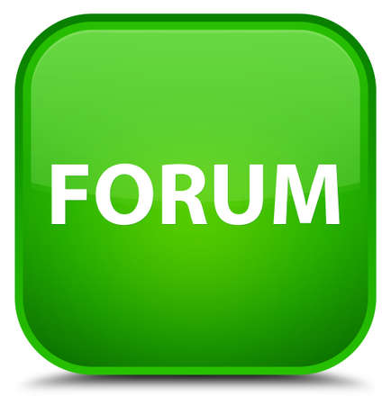 Forum isolated on special green square button abstract illustration