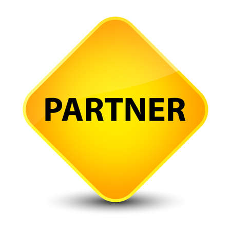 Partner isolated on elegant yellow diamond button abstract illustration