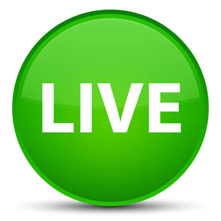 Live isolated on special green round button abstract illustration