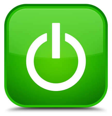 Power icon isolated on special green square button abstract illustration
