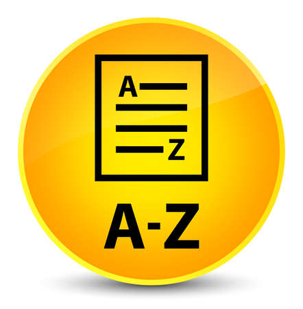 A-Z (list page icon) isolated on elegant yellow round button abstract illustration
