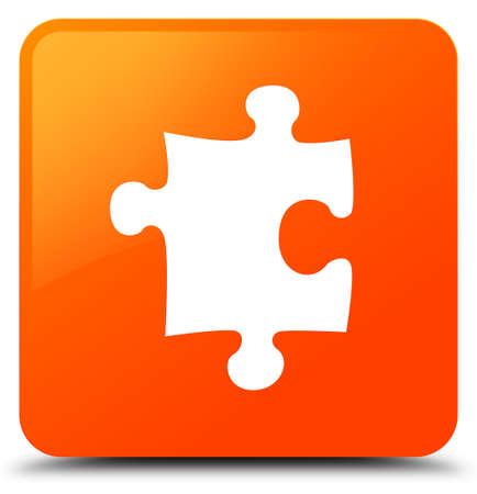 Puzzle icon isolated on orange square button abstract illustration Stock Photo