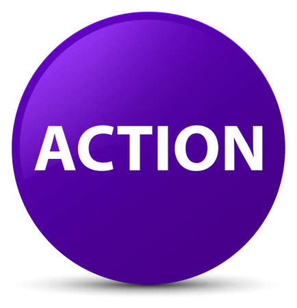 Action isolated on purple round button abstract illustration