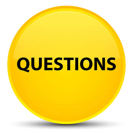 Questions isolated on special yellow round button abstract illustration Stock Photo