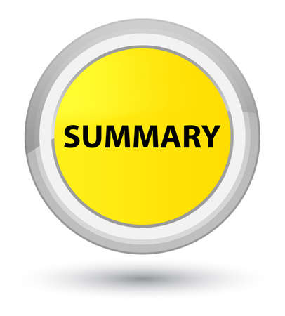 Summary isolated on prime yellow round button abstract illustration Stok Fotoğraf