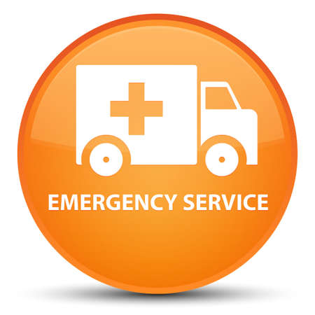 Emergency service isolated on special orange round button abstract illustration