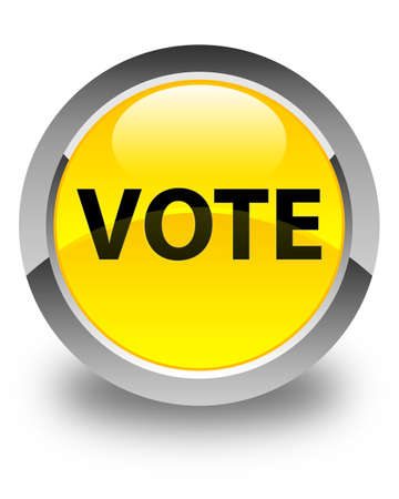 Vote isolated on glossy yellow round button abstract illustration