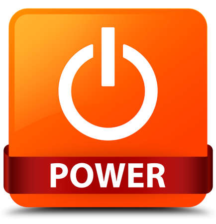 Power isolated on orange square button with red ribbon in middle abstract illustration Stock Photo