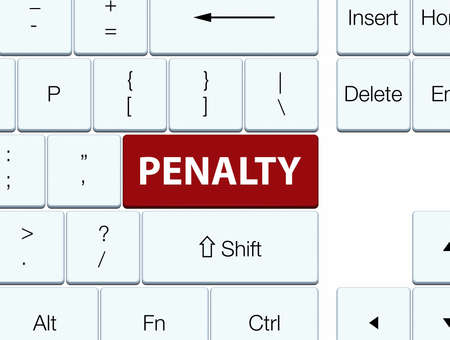 Penalty isolated on brown keyboard button abstract illustration