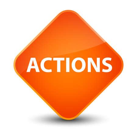 Actions isolated on elegant orange diamond button abstract illustration Фото со стока