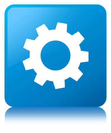 cogwheel: Process icon isolated on cyan blue square button reflected abstract illustration