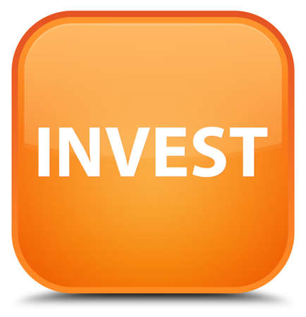 Invest isolated on special orange square button abstract illustration